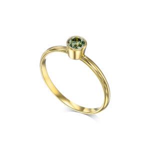 טבעת סוליטר יהלום ירוק